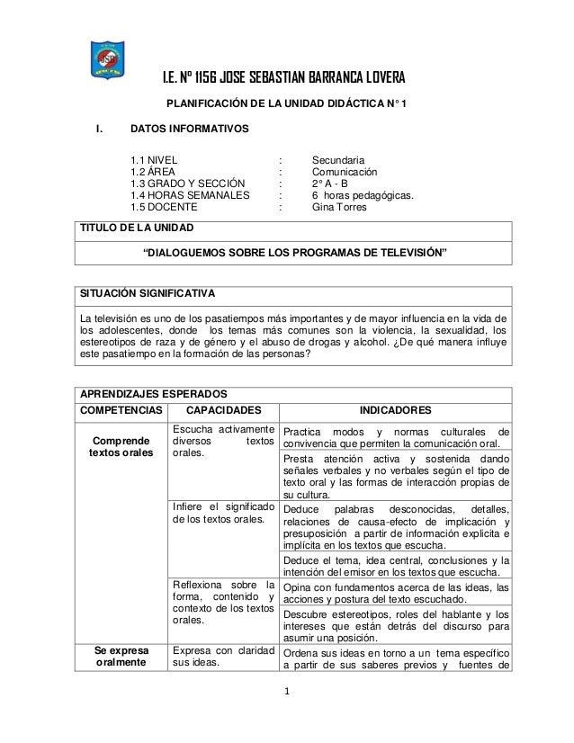 I.E. N° 1156 JOSE SEBASTIAN BARRANCA LOVERA 1 PLANIFICACIÓN DE LA UNIDAD DIDÁCTICA N° 1 I. DATOS INFORMATIVOS 1.1 NIVEL : ...