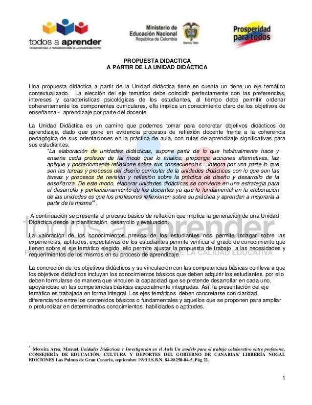 1 PROPUESTA DIDACTICA A PARTIR DE LA UNIDAD DIDÁCTICA Una propuesta didáctica a partir de la Unidad didáctica tiene en cue...