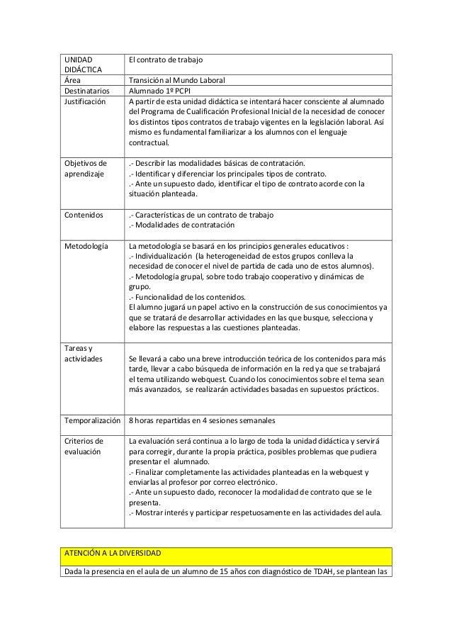 UNIDAD DIDÁCTICA Área Destinatarios Justificación  El contrato de trabajo  Objetivos de aprendizaje  .- Describir las moda...