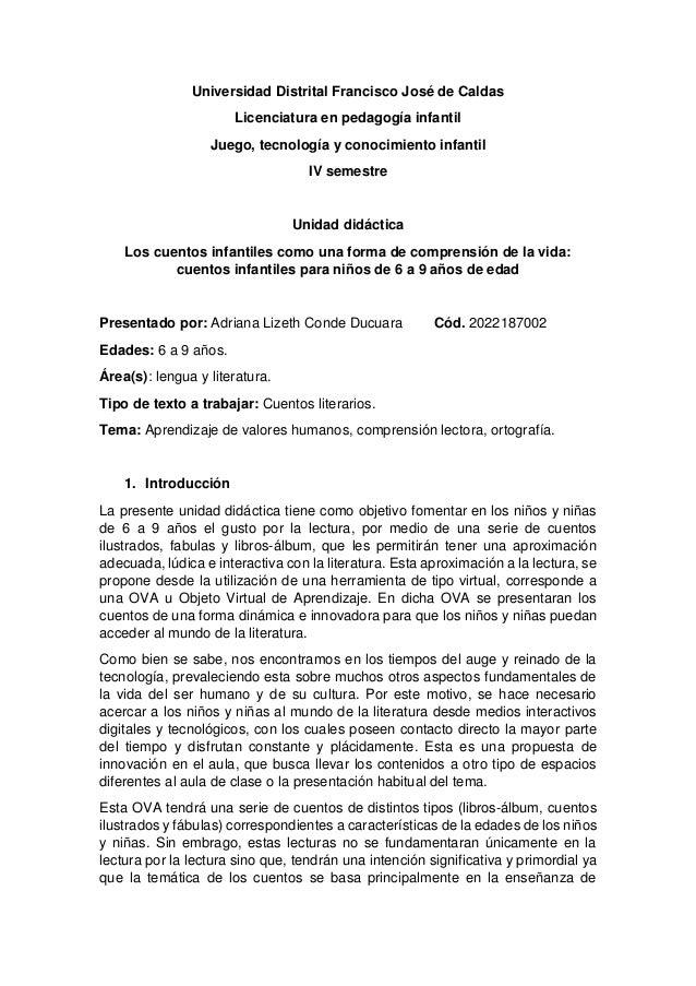Universidad Distrital Francisco José de Caldas Licenciatura en pedagogía infantil Juego, tecnología y conocimiento infanti...