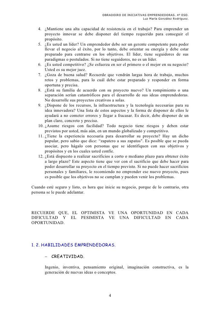 OBRADOIRO DE INICIATIVAS EMPRENDEDORAS. 4º ESO.                                                             Luz María Gonz...