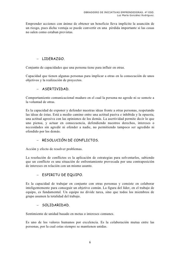 OBRADOIRO DE INICIATIVAS EMPRENDEDORAS. 4º ESO.                                                               Luz María Go...
