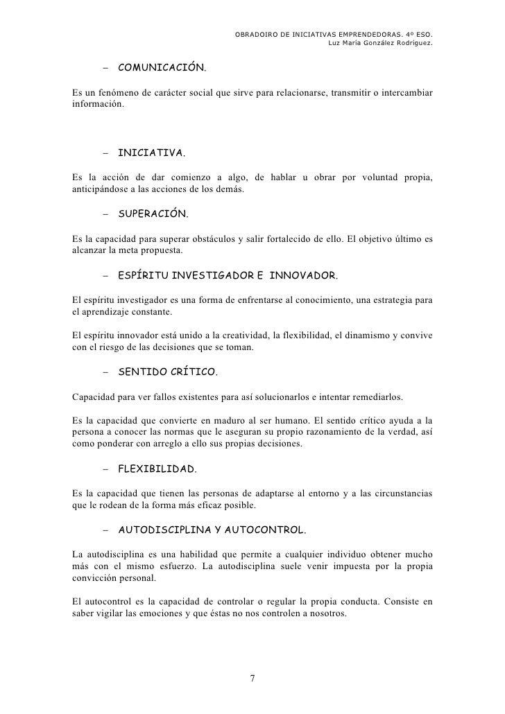 OBRADOIRO DE INICIATIVAS EMPRENDEDORAS. 4º ESO.                                                              Luz María Gon...
