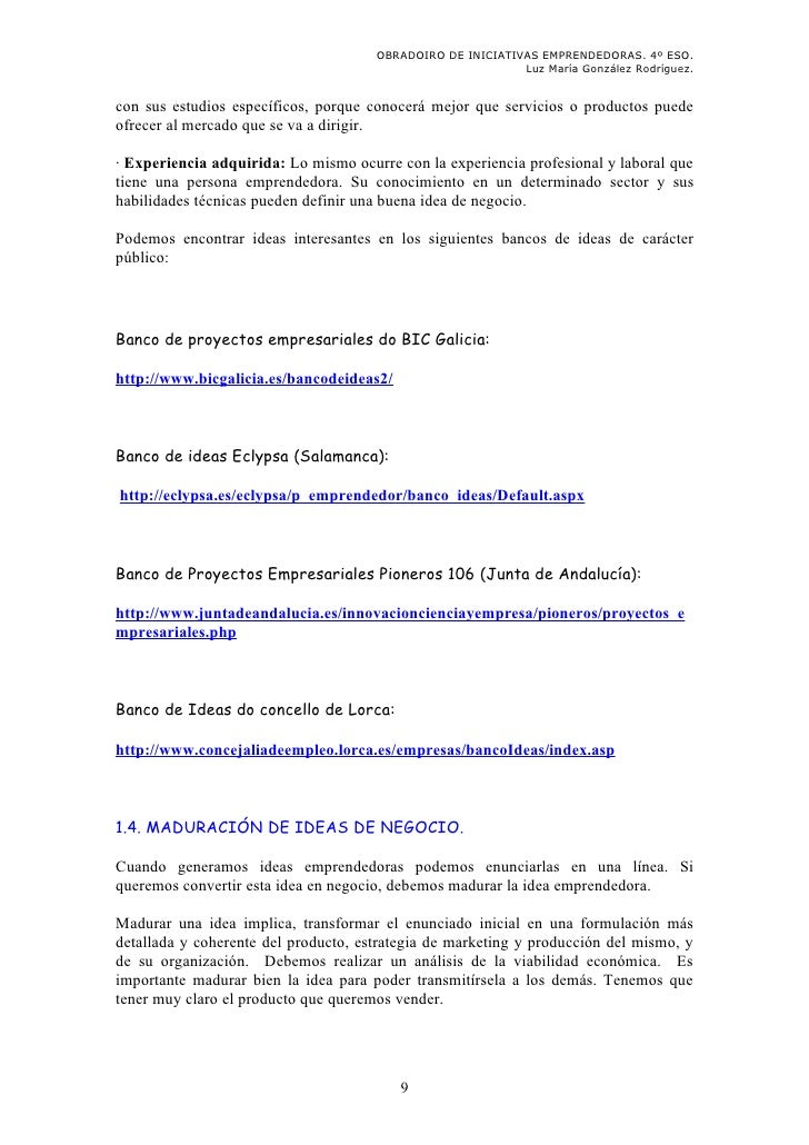 OBRADOIRO DE INICIATIVAS EMPRENDEDORAS. 4º ESO.                                                            Luz María Gonzá...