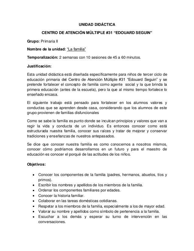 """UNIDAD DIDÁCTICA CENTRO DE ATENCIÓN MÚLTIPLE #31 """"EDOUARD SEGUIN"""" Grupo: Primaria II Nombre de la unidad: """"La familia"""" Tem..."""