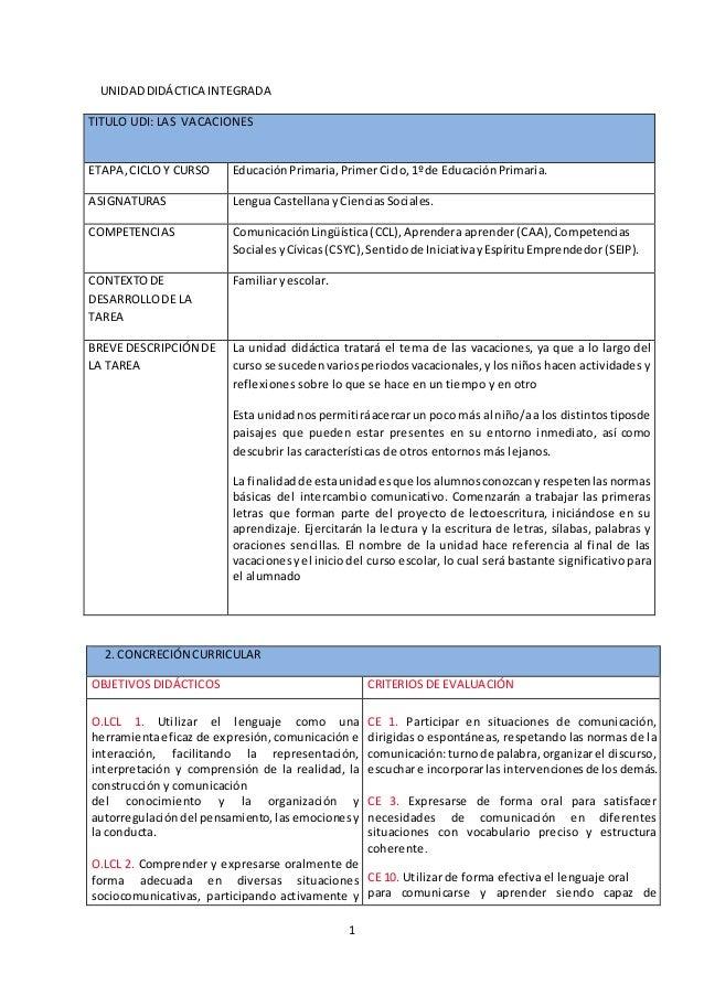 1 UNIDADDIDÁCTICA INTEGRADA TITULO UDI: LAS VACACIONES ETAPA,CICLOY CURSO EducaciónPrimaria,PrimerCiclo,1ºde EducaciónPrim...