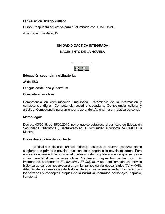 M.ª Asunción Hidalgo Arellano. Curso: Respuesta educativa para el alumnado con TDAH. Intef. 4 de noviembre de 2015 UNIDAD ...