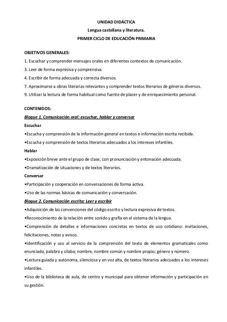 UNIDAD DIDÁCTICA                                  Lengua castellana y literatura.                              PRIMER CICL...