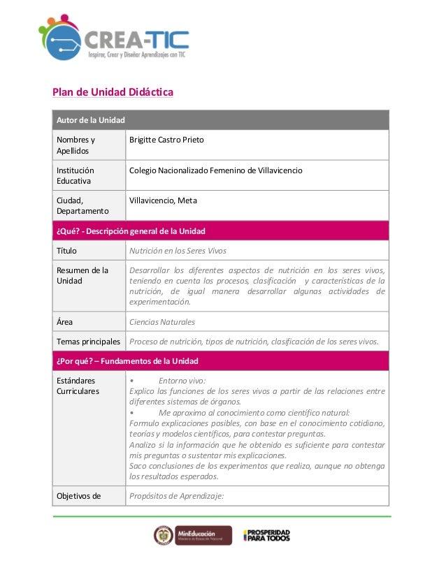 Plan  de  Unidad  Didáctica  Autor  de  la  Unidad  Nombres  y  Apellidos  Brigitte  Castro  Prieto  Institución  Educativ...