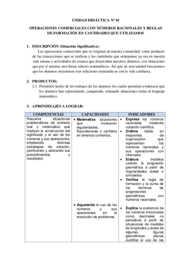 UNIDAD DIDÁCTICA Nº 01 OPERACIONES COMERCIALES CON NÚMEROS RACIONALES Y REGLAS DE FORMACIÓN EN CANTIDADES QUE UTILIZAMOS 1...