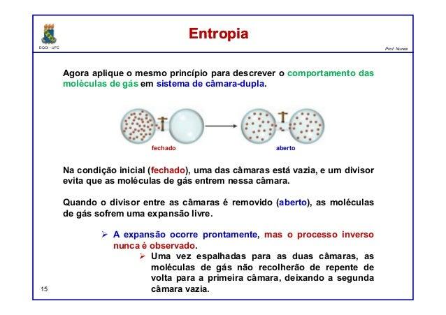 DQOI - UFC Prof. Nunes EntropiaEntropia 15 Agora aplique o mesmo princípio para descrever o comportamento das moléculas de...
