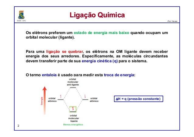 DQOI - UFC Prof. Nunes Os elétrons preferem um estado de energia mais baixo quando ocupam um orbital molecular (ligante). ...