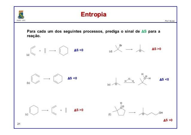 DQOI - UFC Prof. Nunes EntropiaEntropia 21 Para cada um dos seguintes processos, prediga o sinal de ∆S para a reação. ∆S <...