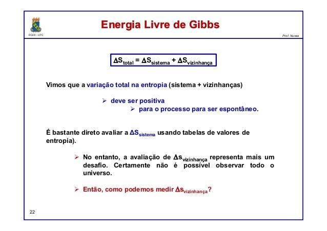 DQOI - UFC Prof. Nunes Energia Livre de GibbsEnergia Livre de Gibbs 22 Vimos que a variação total na entropia (sistema + v...