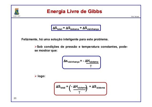 DQOI - UFC Prof. Nunes Energia Livre de GibbsEnergia Livre de Gibbs 23 Felizmente, há uma solução inteligente para este pr...
