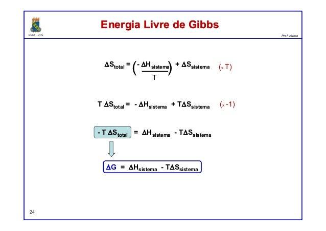 DQOI - UFC Prof. Nunes Energia Livre de GibbsEnergia Livre de Gibbs 24 ∆Stotal = - ∆Hsistema + ∆Ssistema T ( ) T ∆Stotal =...