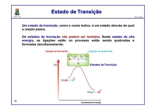 DQOI - UFC Prof. Nunes 46 Um estado de transição, como o nome indica, é um estado através do qual a reação passa. Os estad...
