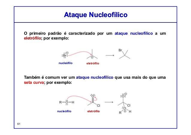 O primeiro padrão é caracterizado por um ataque nucleofílico a um eletrófilo; por exemplo: Também é comum ver um ataque nu...