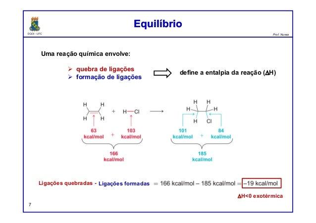 DQOI - UFC Prof. Nunes Uma reação química envolve: quebra de ligações formação de ligações define a entalpia da reação (∆H...