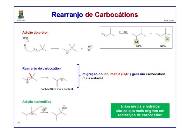 DQOI - UFC Prof. Nunes Rearranjo de CarbocátionsRearranjo de Carbocátions 75 Adição do próton Rearranjo do carbocátion Adi...