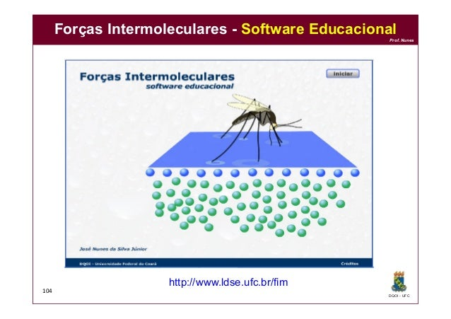 DQOI - UFC Prof. Nunes http://www.ldse.ufc.br/fim 104 Forças Intermoleculares - Software Educacional