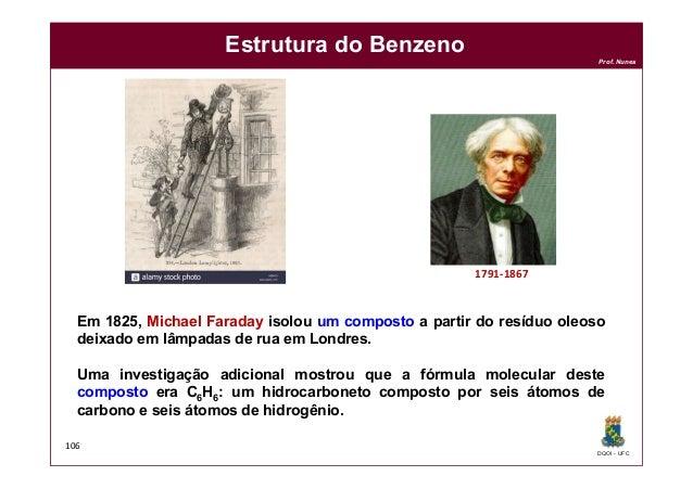 DQOI - UFC Prof. Nunes 106 Estrutura do Benzeno Em 1825, Michael Faraday isolou um composto a partir do resíduo oleoso dei...
