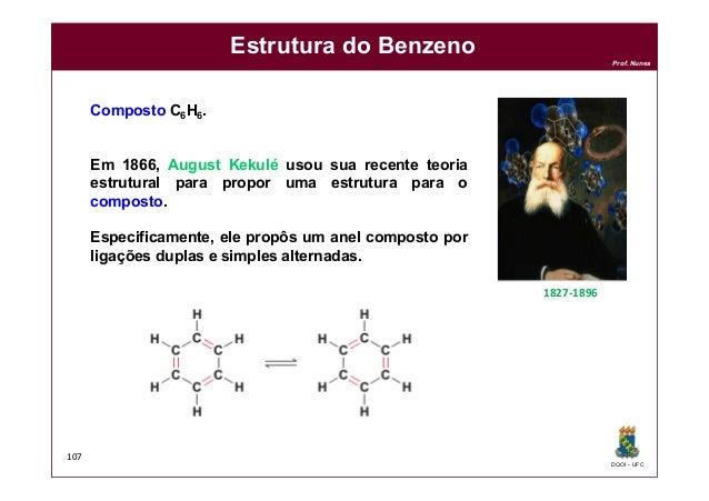 DQOI - UFC Prof. Nunes 107 Estrutura do Benzeno Composto C6H6. Em 1866, August Kekulé usou sua recente teoria estrutural p...