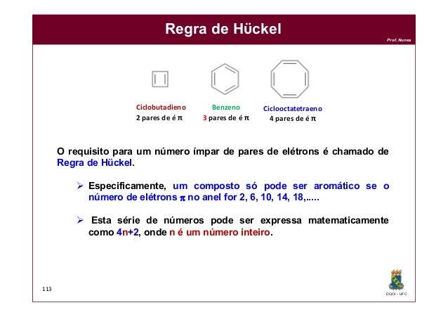 DQOI - UFC Prof. Nunes 113 Regra de Hϋckel Ciclobutadieno 2 pares de é π Ciclooctatetraeno 4 pares de é π O requisito para...