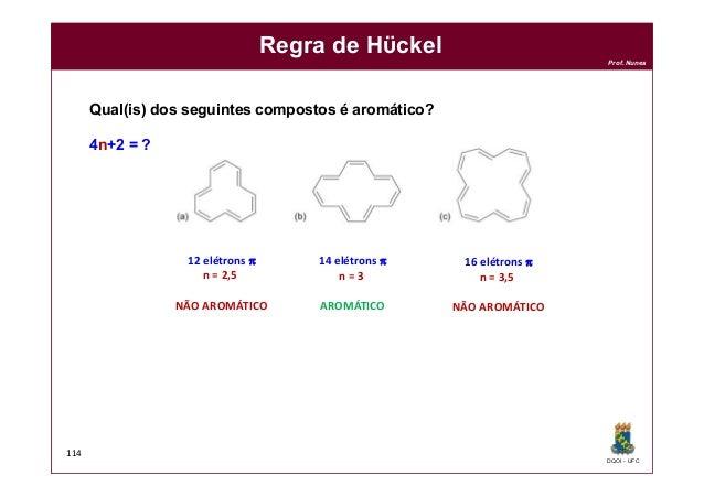 DQOI - UFC Prof. Nunes 114 Regra de Hϋckel Qual(is) dos seguintes compostos é aromático? 4n+2 = ? 12 elétrons p n = 2,5 NÃ...