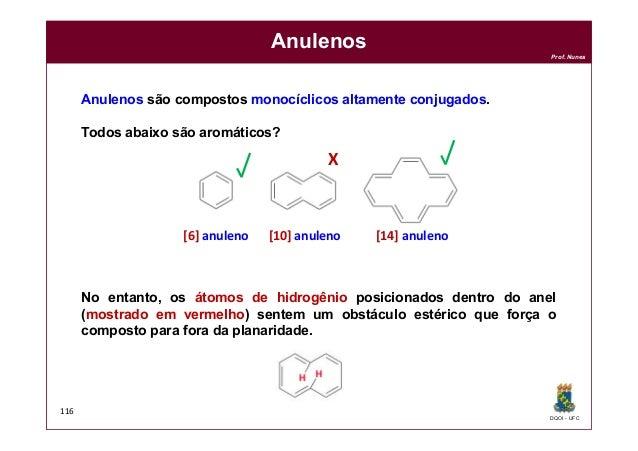 DQOI - UFC Prof. Nunes 116 Anulenos Anulenos são compostos monocíclicos altamente conjugados. Todos abaixo são aromáticos?...