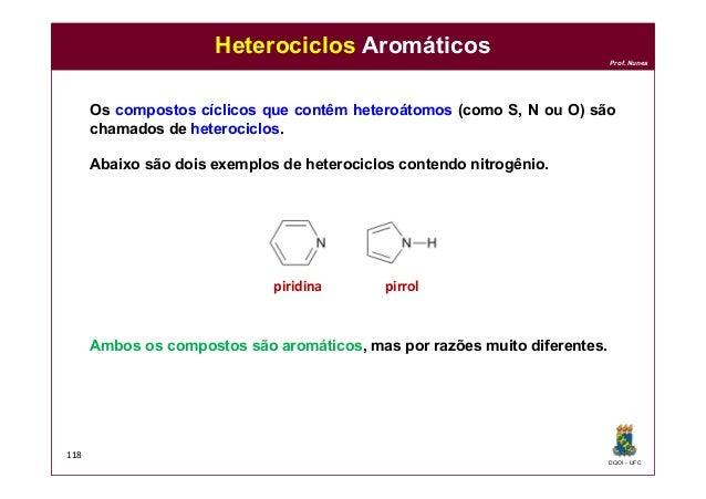 DQOI - UFC Prof. Nunes 118 Heterociclos Aromáticos Os compostos cíclicos que contêm heteroátomos (como S, N ou O) são cham...