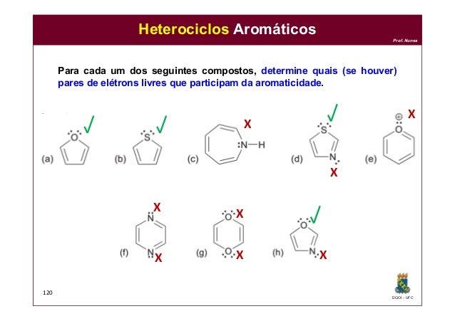 DQOI - UFC Prof. Nunes 120 Heterociclos Aromáticos Para cada um dos seguintes compostos, determine quais (se houver) pares...