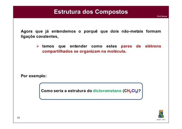 DQOI - UFC Prof. Nunes Estrutura dos Compostos Agora que já entendemos o porquê que dois não-metais formam ligaçõe covalen...