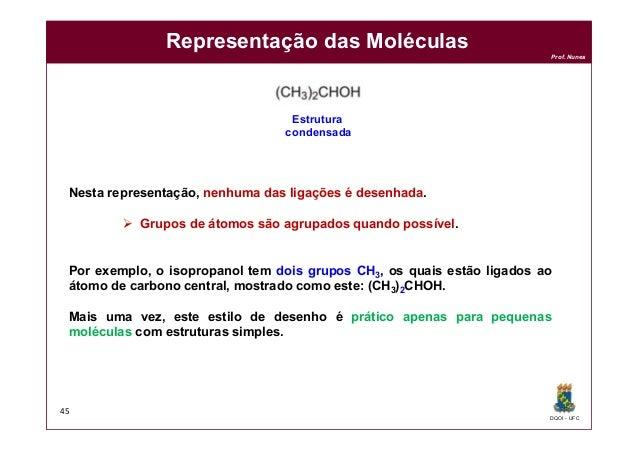 DQOI - UFC Prof. Nunes Representação das Moléculas 45 Nesta representação, nenhuma das ligações é desenhada.  Grupos de á...