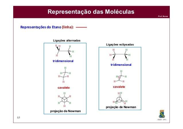 DQOI - UFC Prof. Nunes Representação das Moléculas 57 projeção de Newman projeção de Newman cavalete cavalete tridimension...