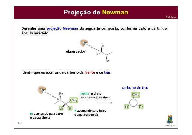 DQOI - UFC Prof. Nunes Projeção de Newman 61 Desenhe uma projeção Newman do seguinte composto, conforme visto a partir do ...