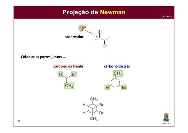 DQOI - UFC Prof. Nunes Projeção de Newman 62 Coloque as partes juntas.... observador carbono de tráscarbono da frente