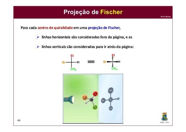 DQOI - UFC Prof. Nunes Projeção de Fischer 68 Para cada centro de quiralidade em uma projeção de Fischer,  linhas horizon...