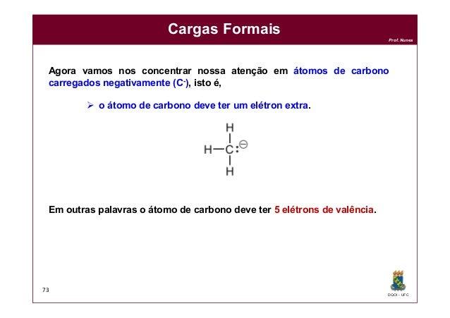 DQOI - UFC Prof. Nunes Cargas Formais 73 Agora vamos nos concentrar nossa atenção em átomos de carbono carregados negativa...