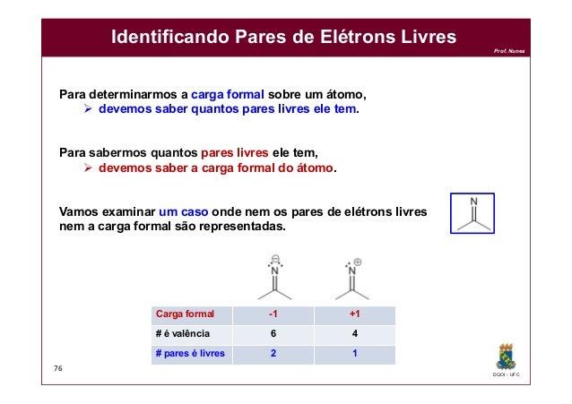 DQOI - UFC Prof. Nunes Identificando Pares de Elétrons Livres 76 Para determinarmos a carga formal sobre um átomo,  devem...