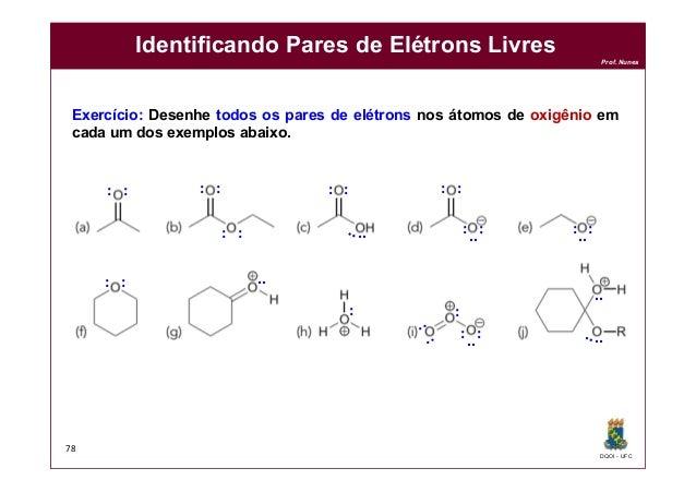 DQOI - UFC Prof. Nunes Identificando Pares de Elétrons Livres 78 Exercício: Desenhe todos os pares de elétrons nos átomos ...
