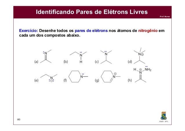 DQOI - UFC Prof. Nunes Identificando Pares de Elétrons Livres 80 Exercício: Desenhe todos os pares de elétrons nos átomos ...