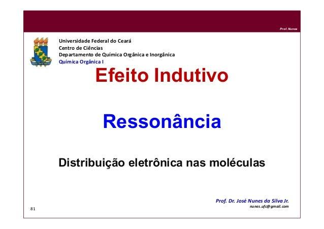 DQOI - UFC Prof. Nunes 81 Efeito Indutivo Ressonância Distribuição eletrônica nas moléculas Universidade Federal do Ceará ...