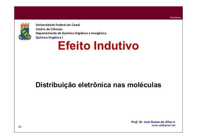 DQOI - UFC Prof. Nunes 82 Efeito Indutivo Distribuição eletrônica nas moléculas Universidade Federal do Ceará Centro de Ci...