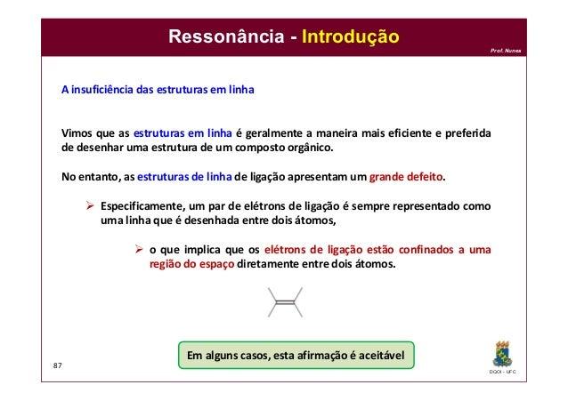 DQOI - UFC Prof. Nunes Ressonância - Introdução 87 A insuficiência das estruturas em linha Vimos que as estruturas em linh...