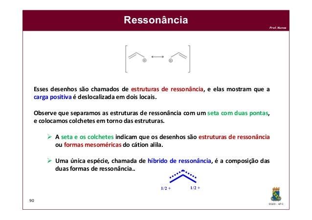 DQOI - UFC Prof. Nunes Ressonância 90 Esses desenhos são chamados de estruturas de ressonância, e elas mostram que a carga...