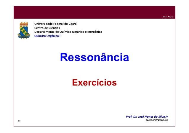 DQOI - UFC Prof. Nunes 92 Ressonância Exercícios Universidade Federal do Ceará Centro de Ciências Departamento de Química ...