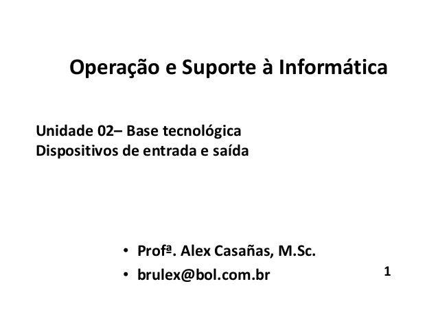 Operação e Suporte à Informática Unidade 02– Base tecnológica Dispositivos de entrada e saída • Profª. Alex Casañas, M.Sc....