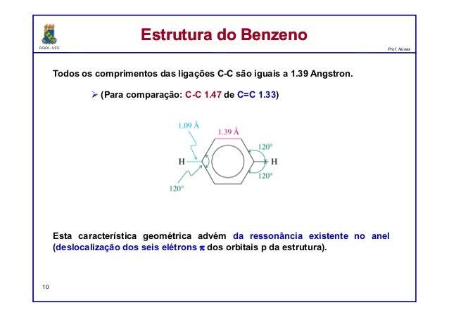 DQOI - UFC Prof. Nunes Todos os comprimentos das ligações C-C são iguais a 1.39 Angstron.  (Para comparação: C-C 1.47 de ...