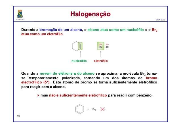 DQOI - UFC Prof. Nunes Durante a bromação de um alceno, o alceno atua como um nucleófilo e o Br2 atua como um eletrófilo. ...